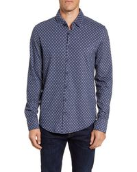 Stone Rose Regular Fit Button-up Performance Shirt - Blue