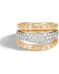 John Hardy - Classic Chain Diamond Pavé & 18k Gold Ring - Lyst
