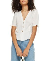 TOPSHOP - Bryony Tea Button Front Blouse - Lyst