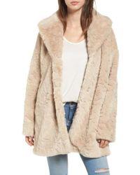 Steve Madden Shaggy Faux Fur Coat - Natural