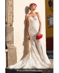 Watters - Tris Embroidered Strapless English Net Trumpet Gown - Lyst