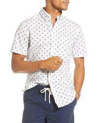 1901 Trim Fit Short Sleeve Button-down Shirt - White