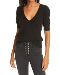 FRAME Frankie Recycled Cashmere Short Sleeve Sweater - Black