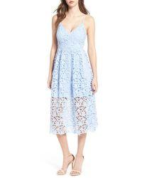 Astr Lace Midi Dress - Blue