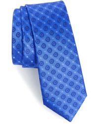 Calibrate Modern Medallion Silk Skinny Tie - Blue