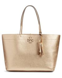 Tory Burch - Mcgraw Leather Tote - Metallic - Lyst