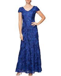 Alex Evenings Soutache Embroidered Lace V-neck Gown - Blue