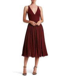 Dress the Population - Alicia Mixed Media Midi Dress - Lyst