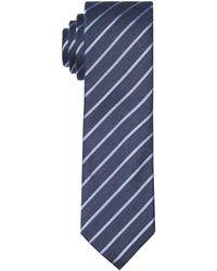 Ted Baker Stripe Silk Skinny Tie - Blue