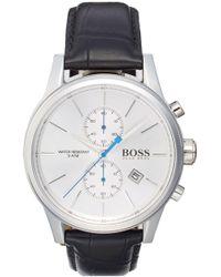 BOSS - 'jet Sport' Chronograph Leather Strap Watch - Lyst