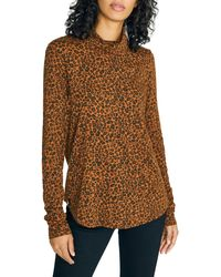 Sanctuary On A Roll Animal-print Cotton-blend Top - Brown