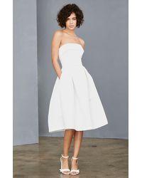 Amsale Strapless Faille A-line Dress - White