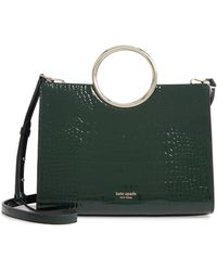 Kate Spade Medium Sam - Bracelet Croc Embossed Leather Satchel - Black