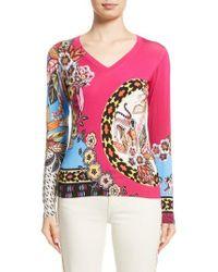 Etro - Animal Jungle Stretch Silk Sweater - Lyst