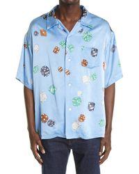 Visvim Wallis Dice Print Button-up Camp Shirt - Blue