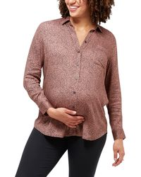 Nom Maternity Charley Button-up Maternity/nursing Top - Purple