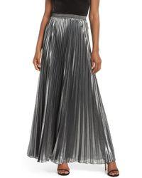 Eliza J - Pleated Lame Maxi Skirt - Lyst