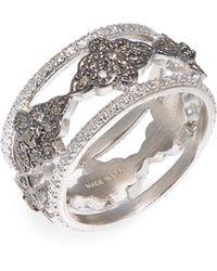 Armenta New World Diamond Scroll Band Ring - Metallic