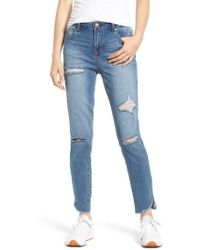 1822 Denim - Distressed Angled Step Hem Skinny Jeans - Lyst