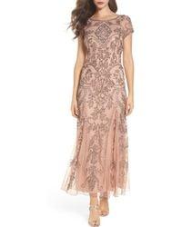 Pisarro Nights Embellished Mesh Gown - Pink