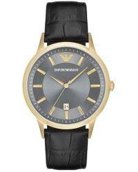 Emporio Armani | Slim Croc Embossed Leather Strap Watch | Lyst