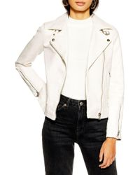 TOPSHOP Lucky Faux Leather Biker Jacket - White