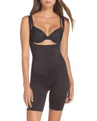 Tc Fine Intimates Torsette Underbust Mid Thigh Bodysuit Shaper - Black