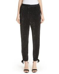 St. John - Sequin Embellished Tie Cuff Pants - Lyst