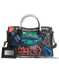 Balenciaga - Small Classic City Graffiti Leather Tote - Lyst