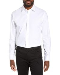 Nordstrom Tech-smart Trim Fit Stretch Pinpoint Dress Shirt - White
