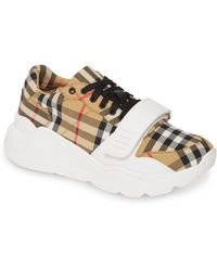 Burberry Regis L Low Sneakers In Antique Yellow Cotton - Natural