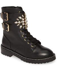 Kurt Geiger Leather Stoop Embellished Ankle Boots in Black
