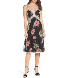 French Connection - Edith Satin Burnout Slipdress - Lyst
