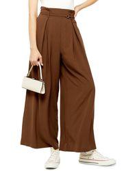 TOPSHOP Belted Wide Leg Pants - Brown