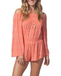 Rip Curl - Saltwater Off The Shoulder Romper - Lyst