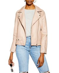 TOPSHOP Lucky Faux Leather Biker Jacket - Natural