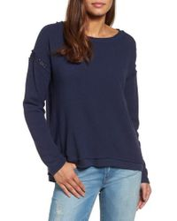 Caslon - Caslon Crochet Lace Trim Sweatshirt - Lyst