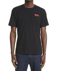 Comme des Garçons Comme Des Garçons Play Twin Hearts Slim Fit Jersey T-shirt - Black