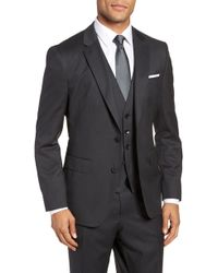 BOSS Johnstons Cyl Classic Fit Solid Wool Sport Coat - Gray