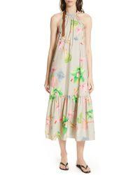 Tibi Linnea Floral Print Poplin Halter Midi Dress - Green