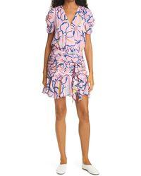 Tanya Taylor Zora Floral Ruffle Silk Dress - Purple