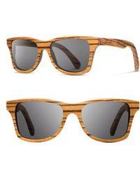 Shwood - 'canby' 48mm Polarized Sunglasses - Zebrawood/ Gray - Lyst
