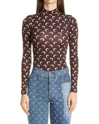 Marine Serre Brand-print Fitted Stretch-jersey Top - Brown