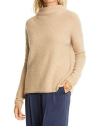 Vince Funnel Neck Boiled Cashmere Sweater - Natural