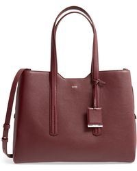 BOSS by Hugo Boss Taylor Leather Business Tote - Red