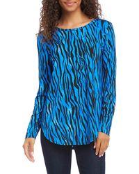 Karen Kane Zebra Print Long Sleeve Shirttail Tee - Blue
