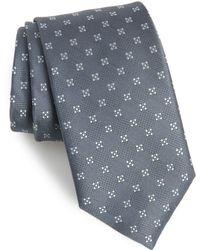David Donahue Geometric Silk Tie - Gray
