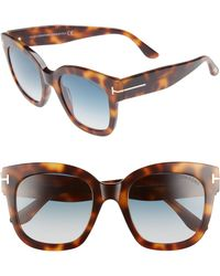 7cc8de65fa5 Tom Ford - Beatrix 52mm Sunglasses - Blonde Havana  Gradient Blue - Lyst