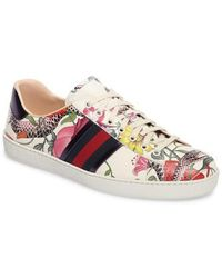 Gucci - New Ace Floral Dino Sneaker - Lyst