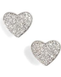 EF Collection | Diamond Heart Stud Earrings | Lyst